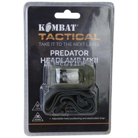 Kombat UK, Kombat UK - Predator Headlamp II, Head Torches, Wylies Outdoor World,