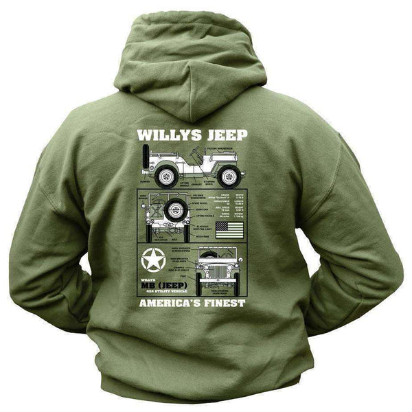 Kombat UK, Willys Jeep Hoodie (New Design), Fleeces, Jumpers & Hoddies, Wylies Outdoor World,