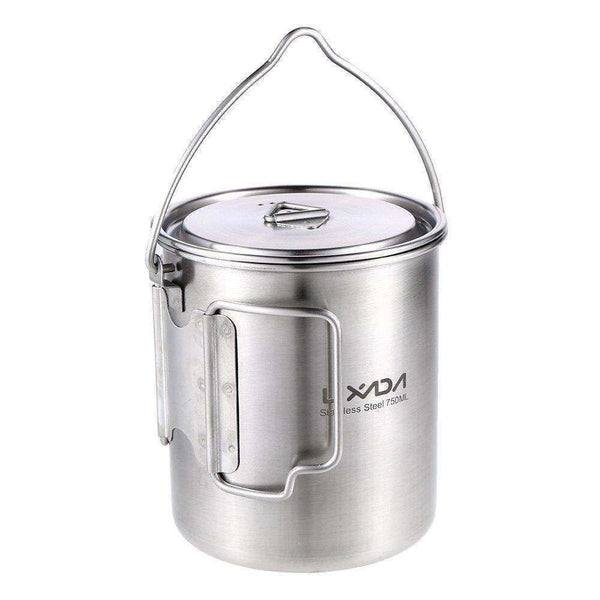 Lixada, Lixada Camping Stainless Steel Cup with Fold-able Handles, Lid & Bail 750ml, Cook Systems, Wylies Outdoor World,