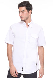 201 - Lea Basic White Shirt Single Pocket Short Sleeve