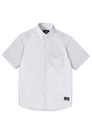 LEA Jeans - White 100% Cotton Oxford Short-Sleeve One pocket Shirt