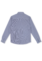 202 - Long Sleeve Wrinkle Free Checked Shirt Blue