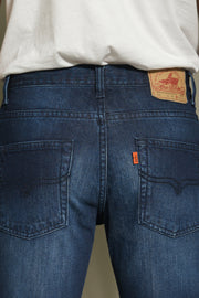 603 - Lea Jeans Orange Label Hand-Sanding Dark Indigo 12.75oz Denim