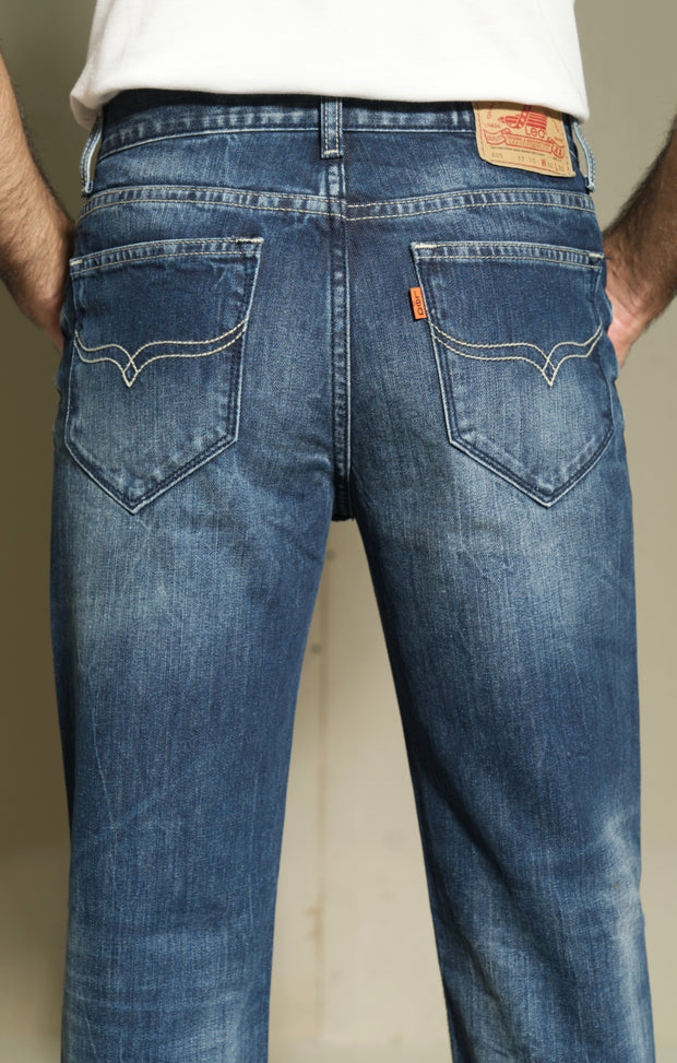 605 - Lea Jeans Handmade Medium Wash Orange Label Regular Slim Fit Dark Indigo 12,75oz