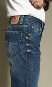 605 - Lea Jeans Handmade Medium Wash Orange Label Regular Slim Fit Dark Indigo 12,75oz and tagging