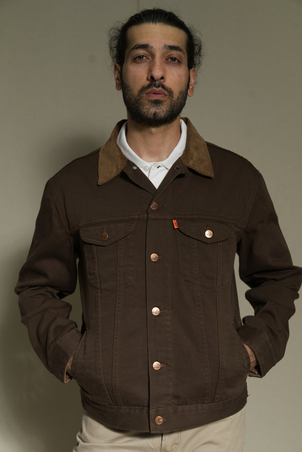 Lea Jeans Heavy-Twill BDark Brown Jacket with Brown Corduroy Collar
