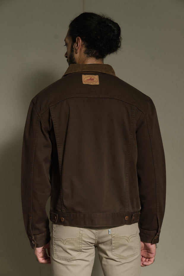 211 - Dark Brown Cord Collar Twill Jacket