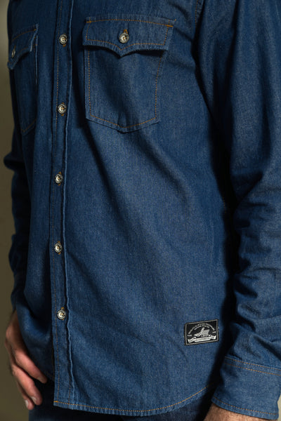 204 - Basic Double Flap Dark Indigo Denim Long Sleeve Shirt
