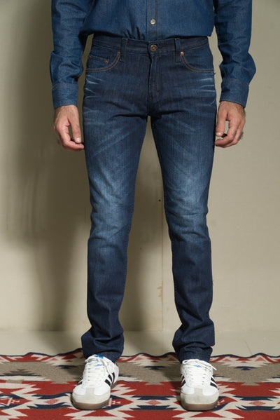 603 -Lea Jeans  Original Slim Orange Label Hand-Sanding Medium Indigo 12,75oz with handmade whiskers application