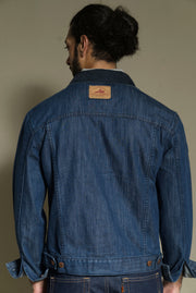 211 - Blue Cord Collar Denim Jacket Medium Indigo