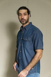Lea Jeans Denim Dark Indigo Short-sleeve Shirt with double flap pocket