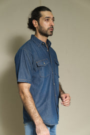 203 - Double Flap Pocket Short Sleeve Dark Indigo Denim Shirt