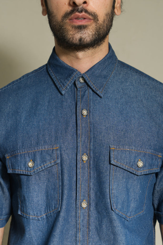 203 - LEA Jeans Double Flap Pocket Short Sleeve Dark Indigo Denim Shirt
