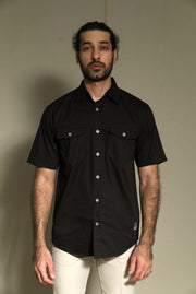 Lea Jeans Cotton Twill Black Short-sleeve Regular-fitShirt