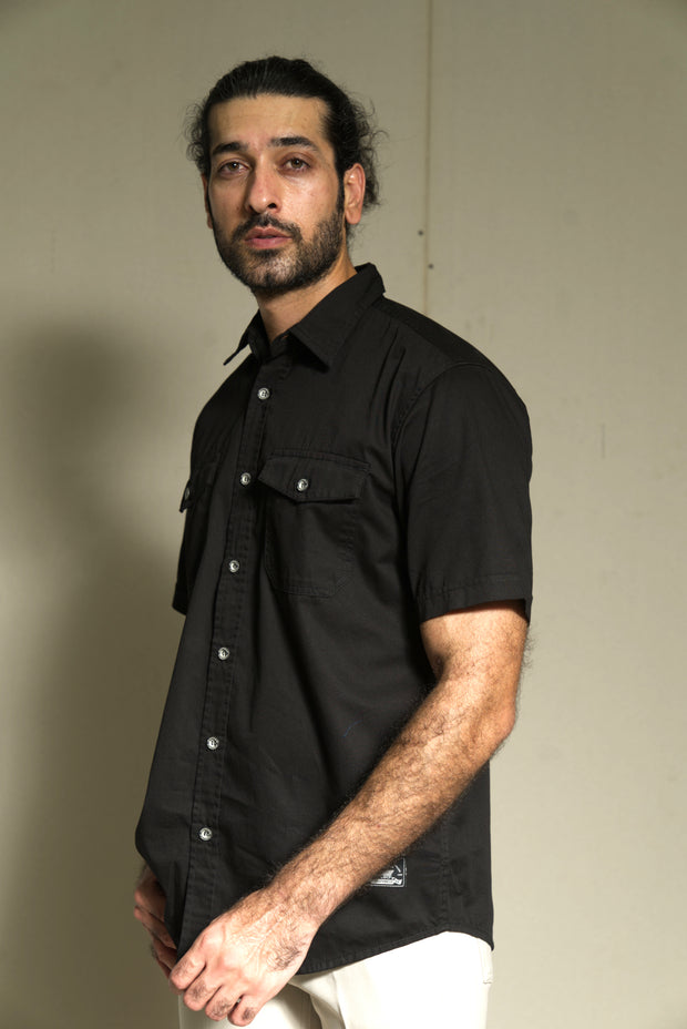 209 - Cotton Twill Double Flap Pocket Black Shirt Sleeve Shirts
