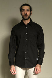 202 - Lea Jeans Basic Shirt - Cotton Twill  Black Long Sleeve in Regular-fit