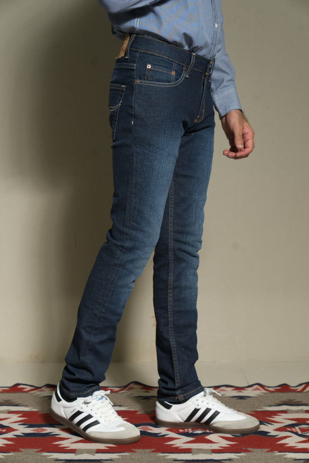 603 - Original Slim Hand-Sanding Dark Indigo Stretch 12.75oz Denim
