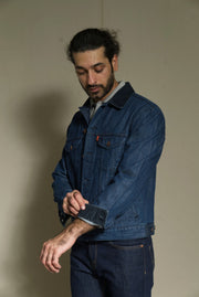 Lea Jeans Medium Indigo Blue-colored Corduroy-Collar Denim Jacket