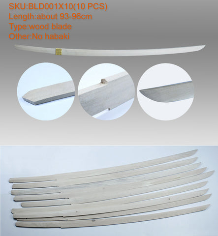10xBLD001 10PC WOOD BLADE FOR COSPLAY DIYER (No habaki) NEWEST 2017