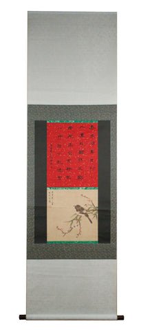 GA020 100% HAND PAINTED FLOWER BIRD CALLIGRAPHY CHINESE INK SCROLL PAINTING