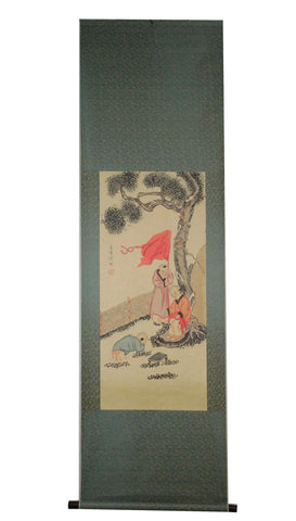 GA028 100% HAND PAINTED FIGURE CHINESE TRADITIONAL  INK SCROLL PAINTING
