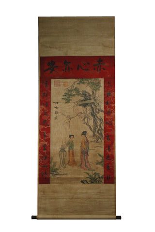 GA070 100% HAND PAINTED FIGURE CHINESE TRADITIONAL INK SCROLL PAINTING