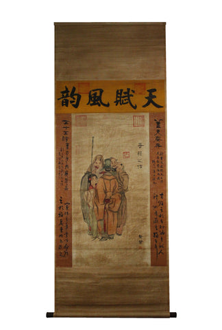 GA073 100% HAND PAINTED FIGURE CHINESE TRADITIONAL INK SCROLL PAINTING