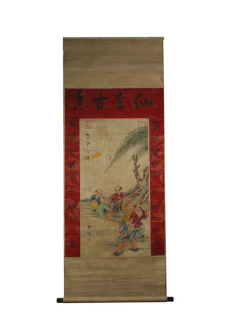 GA082 100% HAND PAINTED FIGURE CHINESE TRADITIONAL INK SCROLL PAINTING