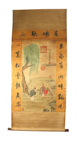 GA123 100% HAND PAINTED FIGURE CHINESE TRADITIONAL INK SCROLL PAINTING