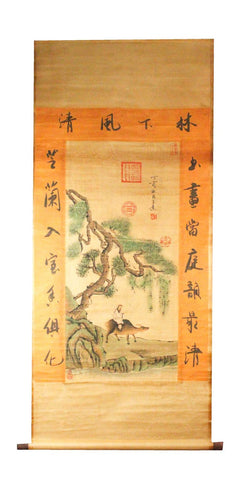 GA128 100% HAND PAINTED FIGURE CHINESE TRADITIONAL INK SCROLL PAINTING