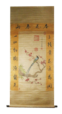 GA137 100% HAND PAINTED FLOWER BIRD CHINESE TRADITIONAL  INK SCROLL PAINTING