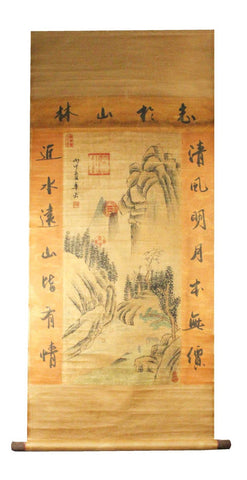 GA140 100% HAND PAINTED LANDSCAP CHINESE TRADITIONAL INK SCROLL PAINTING
