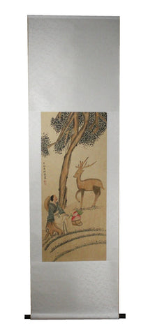 GA156 100% HAND PAINTED FIGURE CHINESE TRADITIONAL INK SCROLL PAINTING
