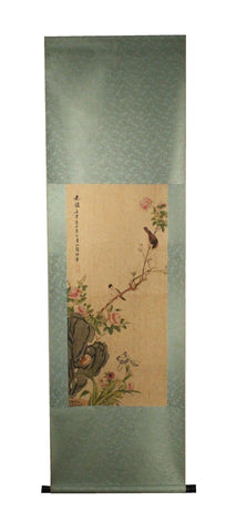 GA161 100% HAND PAINTED FLOWER BIRD CHINESE TRADITIONAL  INK SCROLL PAINTING