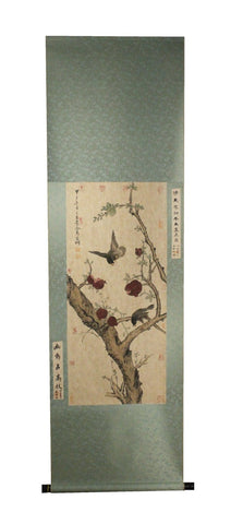 GA178 100% HAND PAINTED FLOWER BIRD CHINESE TRADITIONAL  INK SCROLL PAINTING