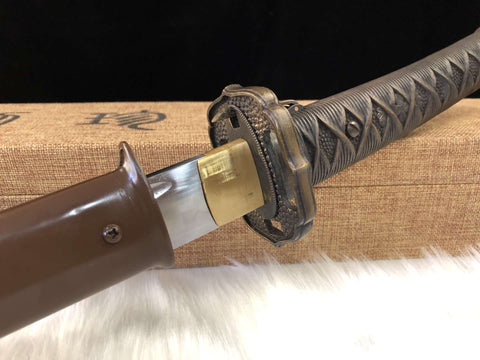 Clay Tempered T10 High Carbon Steel Full Brass Fitting WWII Japanese Officer Army 95 Saber Sword Katana