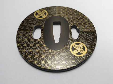 TE005 JAPANESE KATANA IRON TSUBA WITH PATTERN