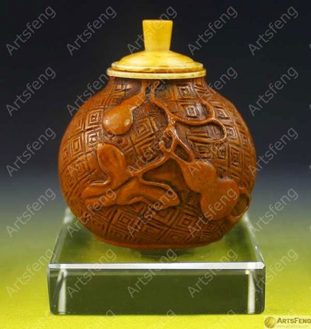 SA814 FINE CHINESE TRANDITIONAL GOURD ART SNUFF BOTTLE