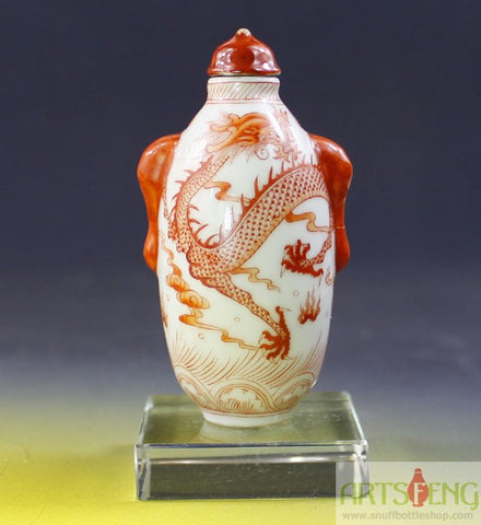 SB602 D13mm FINELY HAND MADE CHINESE RED GLAZE DRAGON PORCELAIN SNUFF BOTTLE