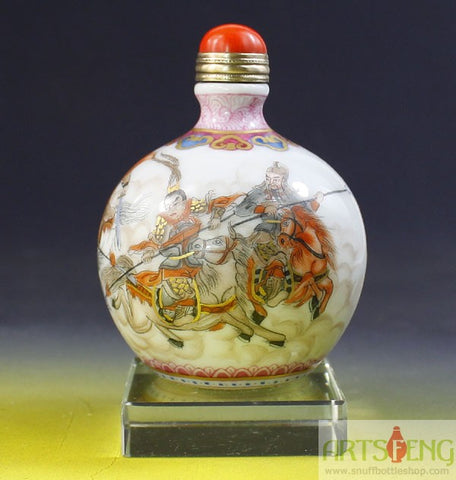 SB720 D14mm HAND MADE CHINESE FINELY FENCAI EAST FEATURE PORCELAIN SNUFF BOTTLE