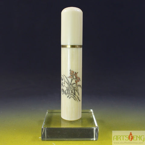 SC014 D9mm HAND MADE CHINESE OX BONE FLOWER THEME SNUFF BOTTLE