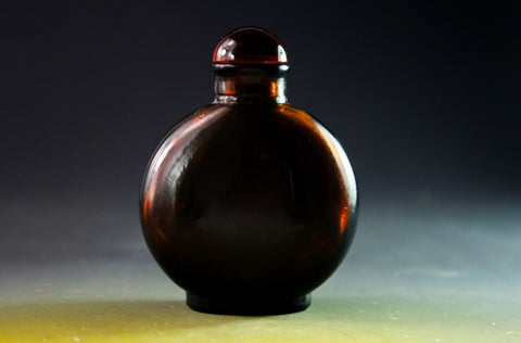 SC161 D19mm SNUFF BOTTLE BROWN GLASS