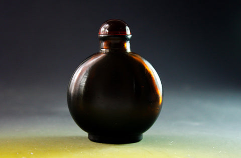 SC162 D19mm SNUFF BOTTLE BROWN GLASS