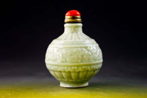 SC179 D17mm SNUFF BOTTLE PATTERN CELADON PORCELAIN