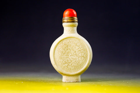 SC190 D15mm SNUFF BOTTLE CARVED PATTERN PORCELAIN