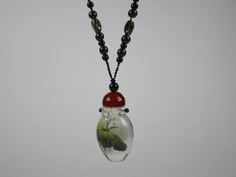 SC227 F15mm NATIVE QUARTZ INSIDE PAINTED SNUFF BOTTLE PENDENT