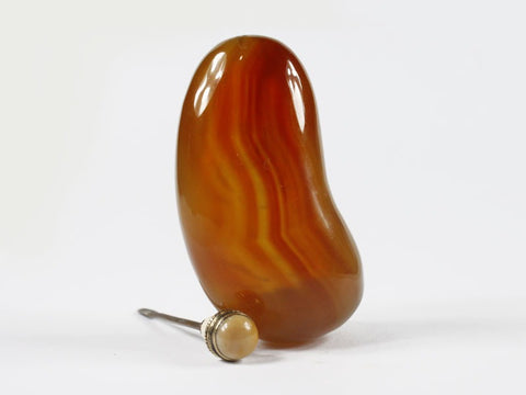 SC251 F9mm HAND MADE AGATE BEAN SHAPE SNUFF BOTTLE