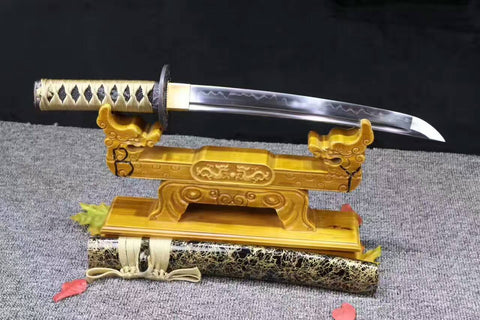 1095 Steel Clay Tempered Snow battle ready sharp Japanese Samurai Sword Tanto Full Tang