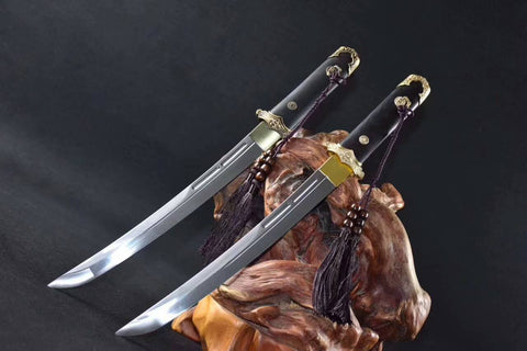 High Manganese Steel Curved Blade Ebony battle ready Brass Fitting Chinese Tangsharp Sword Short Sword