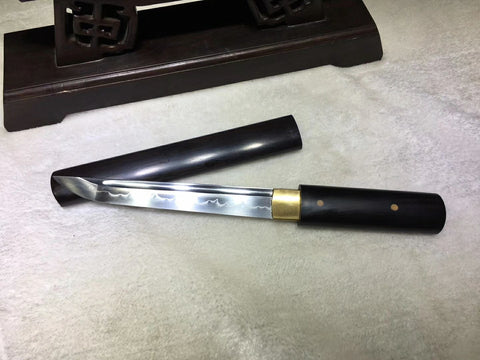 1095 High Carbon Steel Clay tempered Black ebony Chinese Sword Cutlass Dao